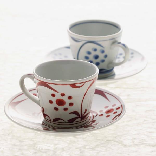 砥部焼 太陽紋 コーヒーペアー碗皿