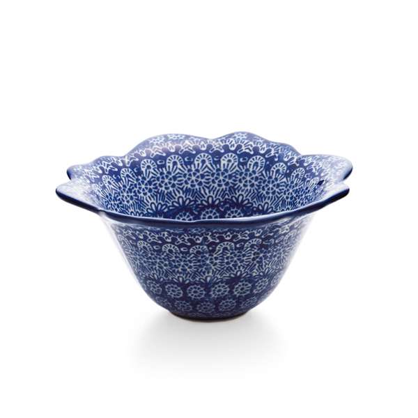 セラミカ / ブルー フラワーボールS(16.5cm 高さ7.5cm)