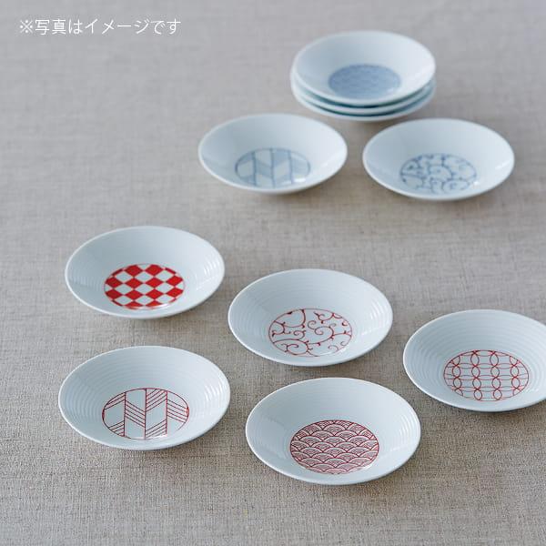 永峰製磁 / 波佐見焼 小皿五枚セット(赤)