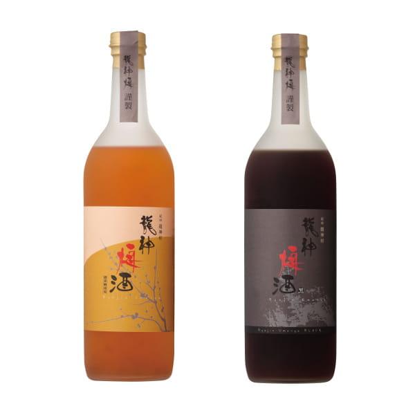 龍神梅酒 2本セット(黒糖・甜菜糖) 龍神村産杉箱入