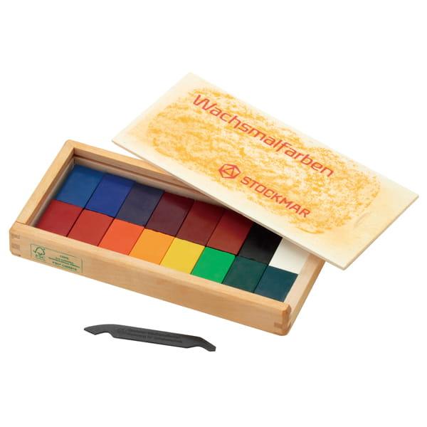 シュトックマー / みつろうブロッククレヨン 16色木箱