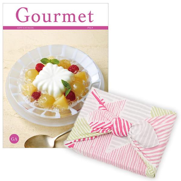 <風呂敷包み> グルメカタログギフト Gourmet <GA+風呂敷(こはれ ねんりん ピンク)>
