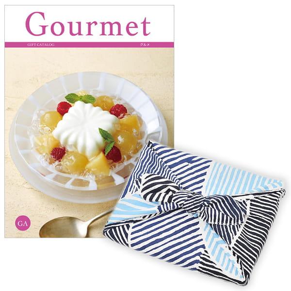 <風呂敷包み> グルメカタログギフト Gourmet <GA+風呂敷(こはれ ねんりん ブルー)>