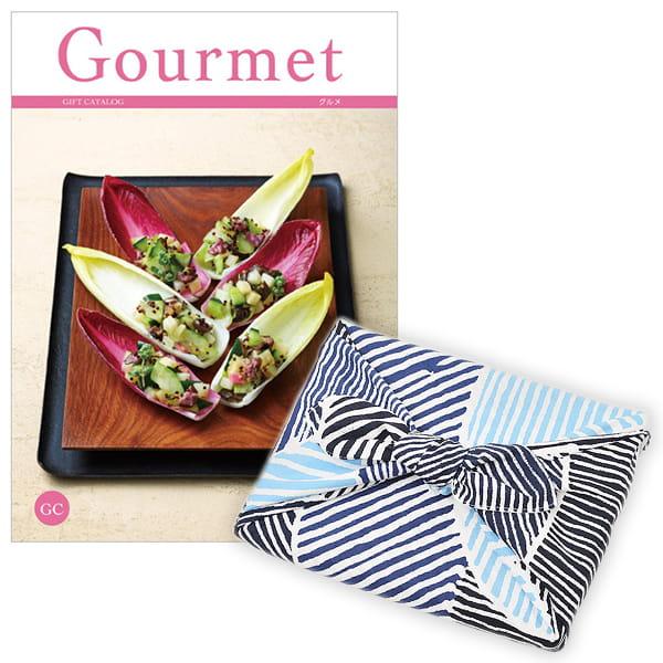 <風呂敷包み> グルメカタログギフト Gourmet <GC+風呂敷(こはれ ねんりん ブルー)>