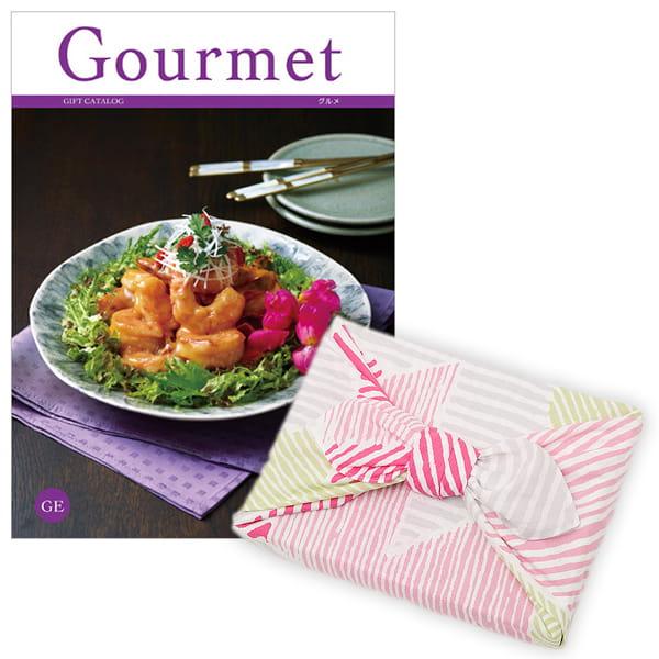 <風呂敷包み> グルメカタログギフト Gourmet <GE+風呂敷(こはれ ねんりん ピンク)>