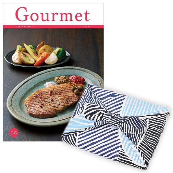 <風呂敷包み> グルメカタログギフト Gourmet <GG+風呂敷(こはれ ねんりん ブルー)>