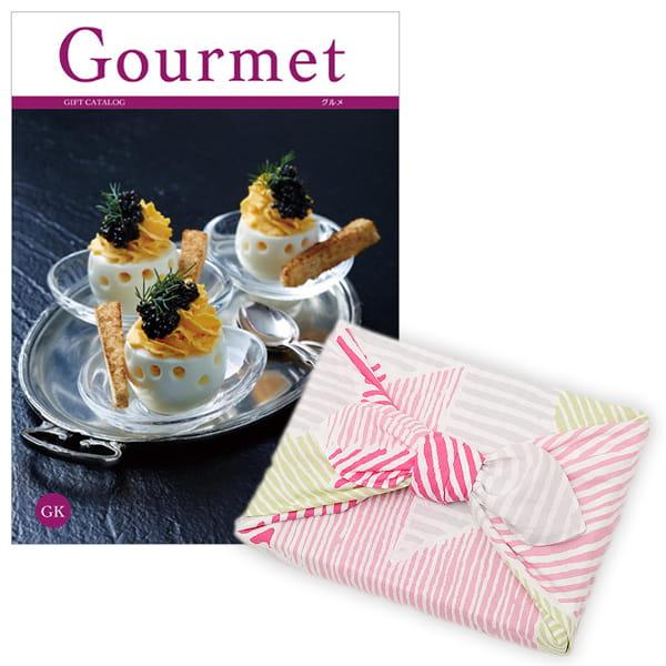<風呂敷包み> グルメカタログギフト Gourmet <GK+風呂敷(こはれ ねんりん ピンク)>