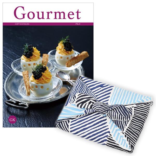 <風呂敷包み> グルメカタログギフト Gourmet <GK+風呂敷(こはれ ねんりん ブルー)>
