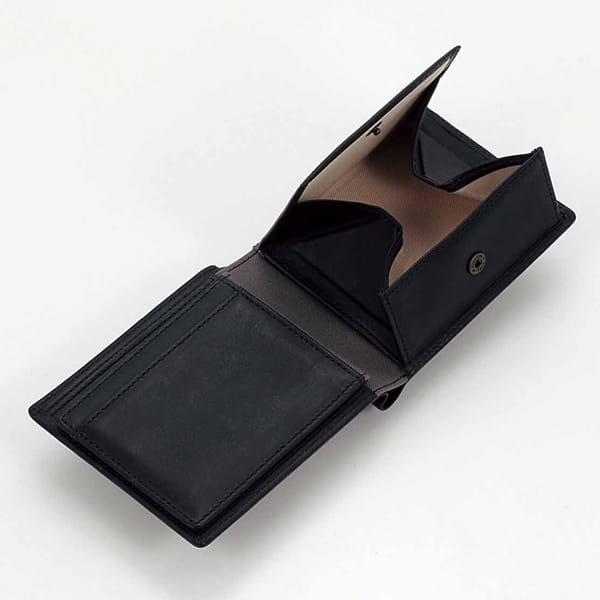 ベジタブルタンニンレザー メンズ財布(ブラック)