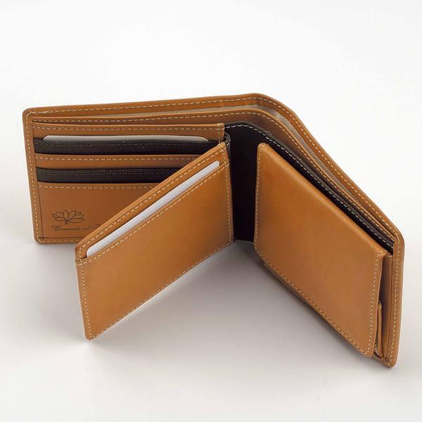 ベジタブルタンニンレザー メンズ財布(ブラウン)