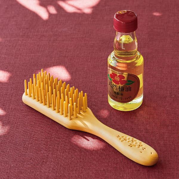 別府つげ工芸 / 5列つげブラシ椿油セット