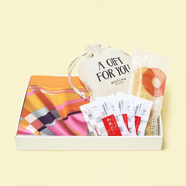 カタログギフト VENTOUEST<オランジュ>+和風だし+バウムクーヘン+オリジナル巾着 ※5個以上でご注文ください