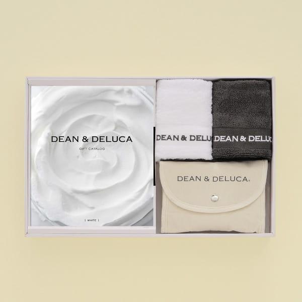 DEAN&DELUCA ギフトカタログ <WHITE(ホワイト)>+ハンドタオル+ショッピングバッグ(ナチュラル)セット