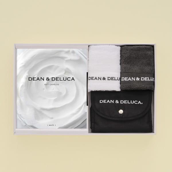 DEAN&DELUCA ギフトカタログ <WHITE(ホワイト)>+ハンドタオル+ショッピングバッグ(ブラック)セット