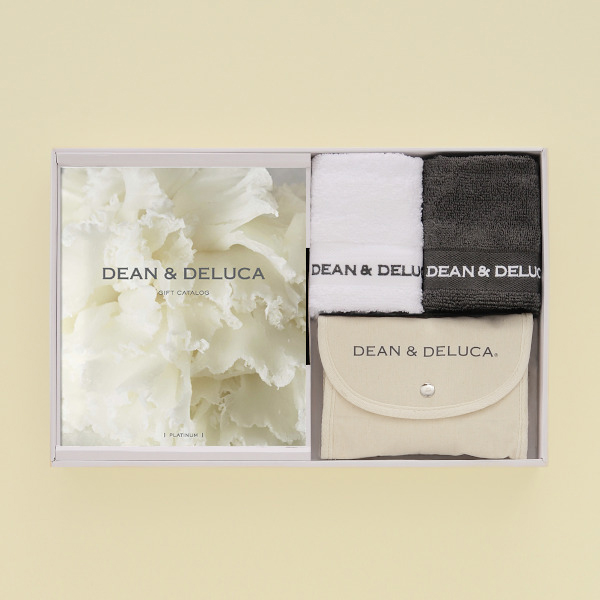 DEAN&DELUCA ギフトカタログ <PLATINUM(プラチナ)>+ハンドタオル+ショッピングバッグ(ナチュラル)セット