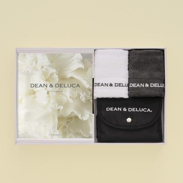 DEAN&DELUCA ギフトカタログ <PLATINUM(プラチナ)>+ハンドタオル+ショッピングバッグ(ブラック)セット