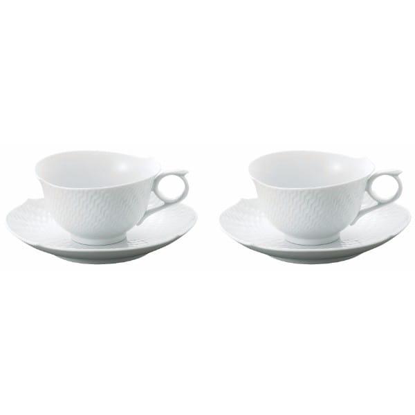 Meissen / 波の戯れ ホワイト ペアティーカップ&ソーサー
