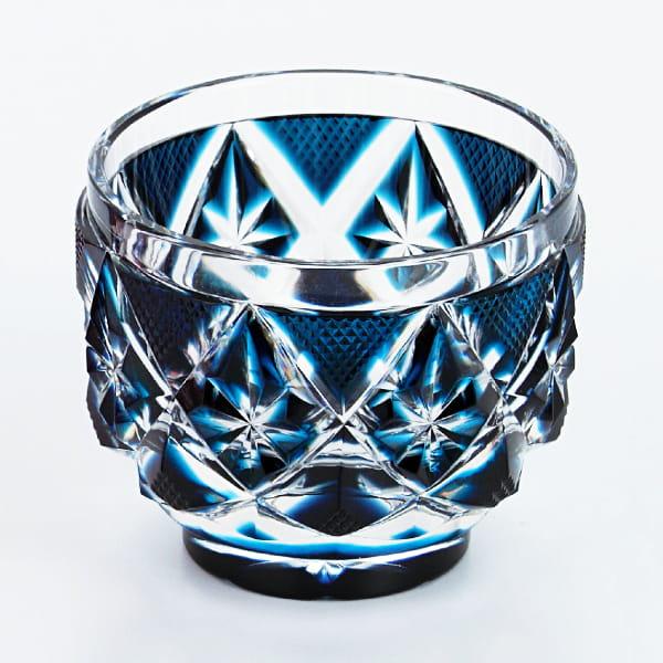 薩摩切子 猪口(藍)