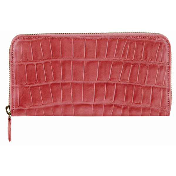 ワニ型押 ラウンド財布(ピンク)
