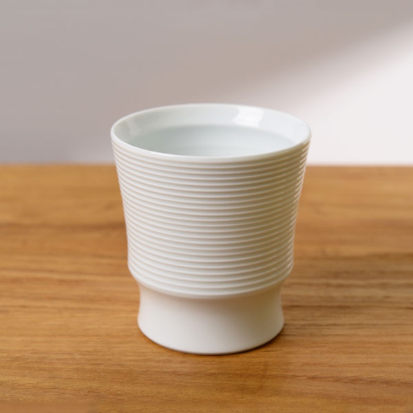 波佐見焼 和山 ボーダーカップ 白磁