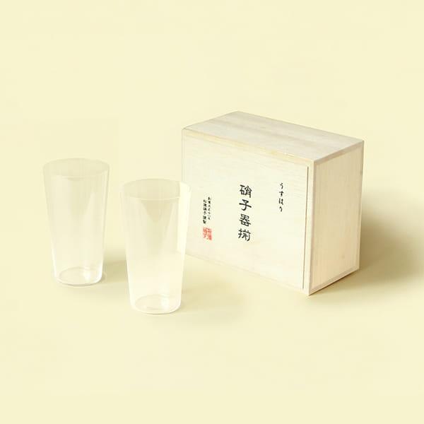松徳硝子(ショウトクガラス) うすはり タンブラーMペアセット(木箱入り)