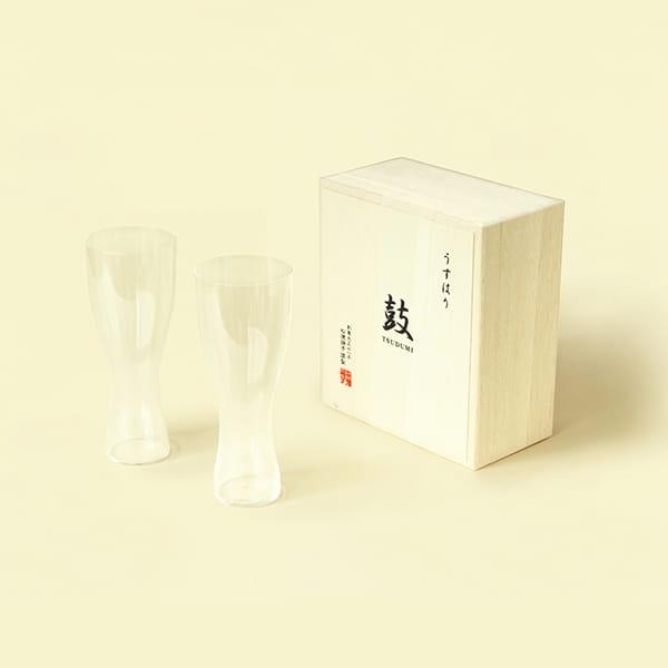 松徳硝子 / うすはり ビールグラス(ピルスナー)ペアセット[木箱入り]