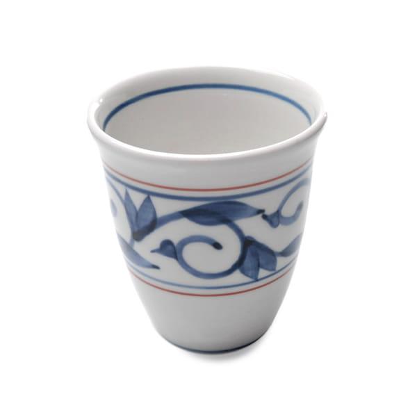 砥部焼 貞山窯 フリーカップ 唐草(赤)