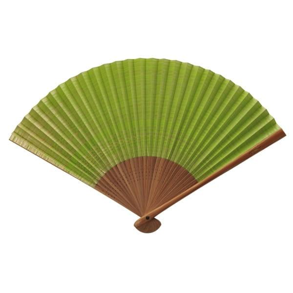 伊場仙 / 婦人扇子 しけびき柄(黄緑) 収納袋・ケース付