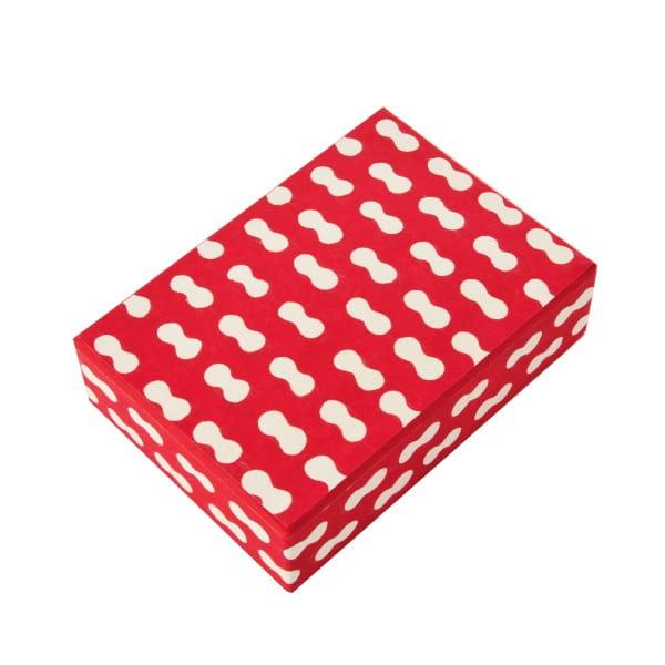 八尾和紙(桂樹舎) はがき箱 まゆ(赤)