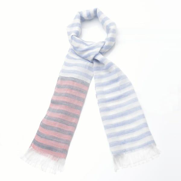 羽田忠織物 / シルクリネンストール(ボーダー・ブルー)