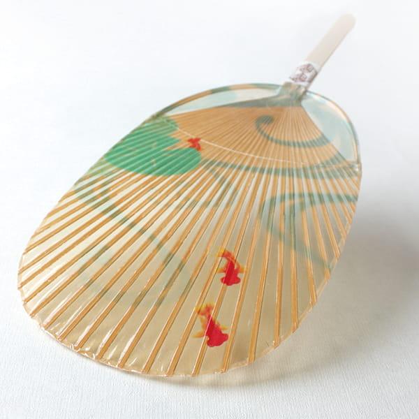 美濃和紙 水うちわ 小判型(金魚)