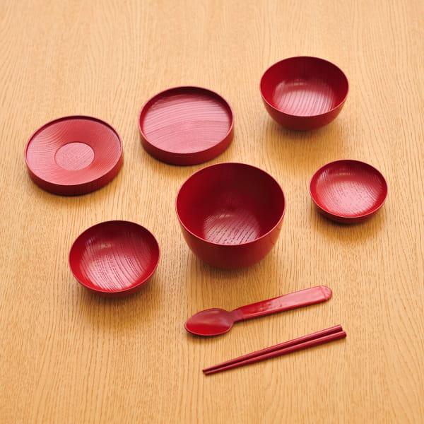 たに屋 / 山中漆器 欅ひとりぶんミニ(朱) お食い初めセット