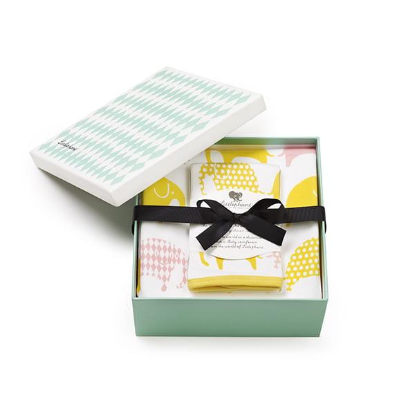 リトルファント / ブランケット&ハンカチセット Elephant-White/yellow/pink