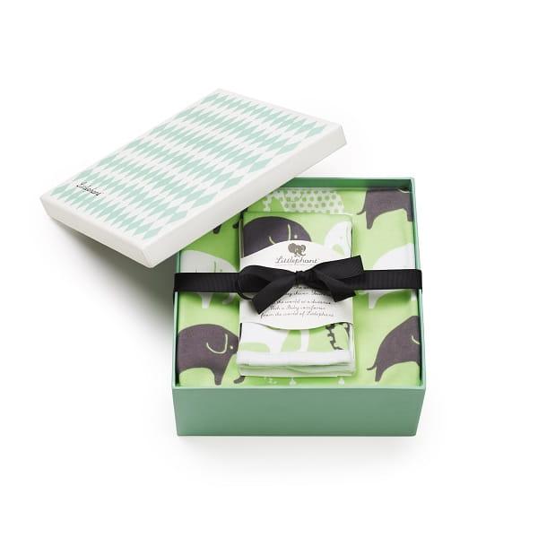 リトルファント / ブランケット&ハンカチセット Elephant-Green/gray