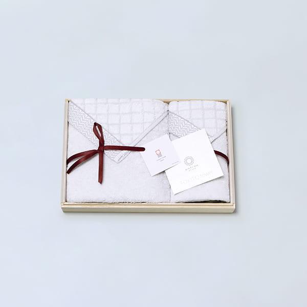 antina / TOKITOタオル 木箱入りタオルセット(ハンド1・フェイス1 ) グレー