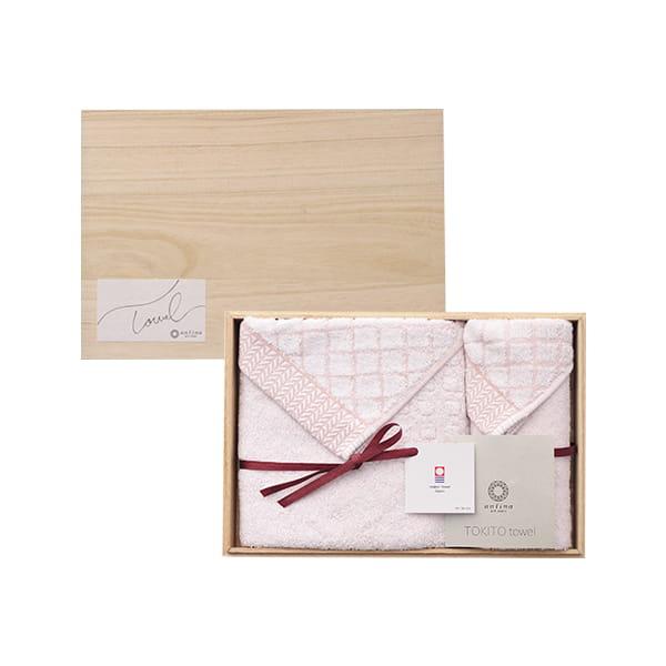antina / TOKITOタオル 木箱入りタオルセット(ハンド1・フェイス1 ) ピンク