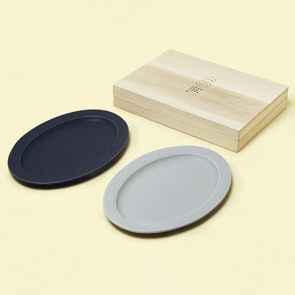 作山窯 / Sara Oval M オーバル プレートペア 木箱入り(Navy、Gray)