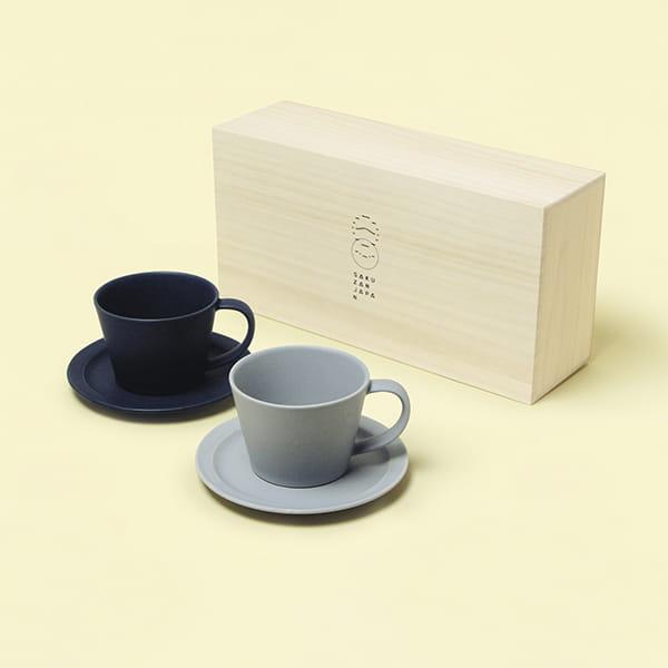 作山窯 / Sara Coffee Cup & Saucer カップ&ソーサー ペア 木箱入り(Navy、Gray)