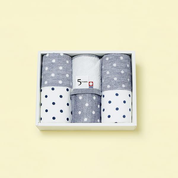 今治タオル(imabari towel) ポルカドットシャンブレータオルセット(フェイス2/ハンド1) ブルー
