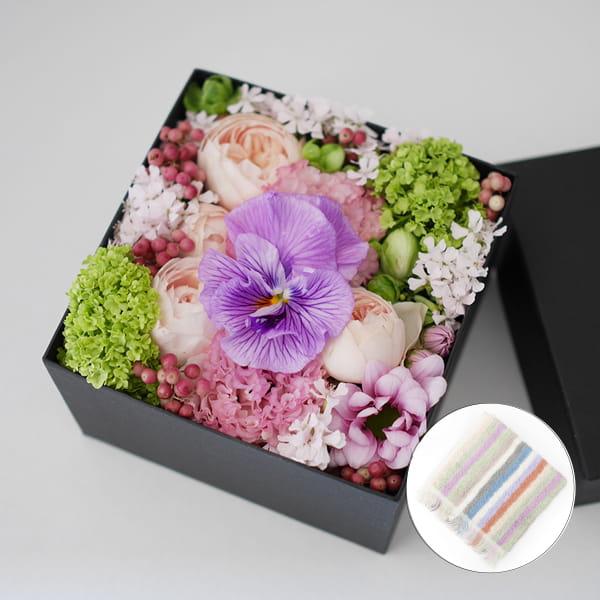 2017母の日限定(5/11~14着) BALANCE FLOWER SHOP フラワーアレンジメント(ボックス)ハンドタオル付【専用メッセージカード付】