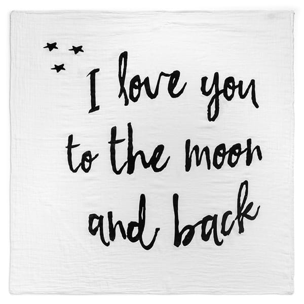 modern burlap / おくるみ Patterned Swaddles(I LOVE YOU TO THE MOON AND BACK)