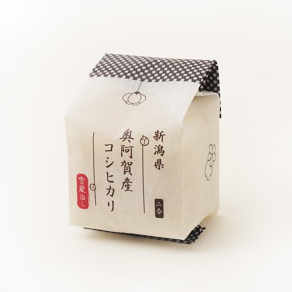 越後ファーム / 『出産内祝』名入れ木箱 2合キューブ6つ詰合せ(ふろしき包み)*