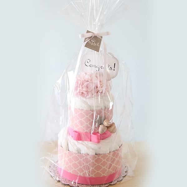 LA couche Pastel / Kiko+の木のおもちゃ付きオーガニックダイパーケーキ/ パープル