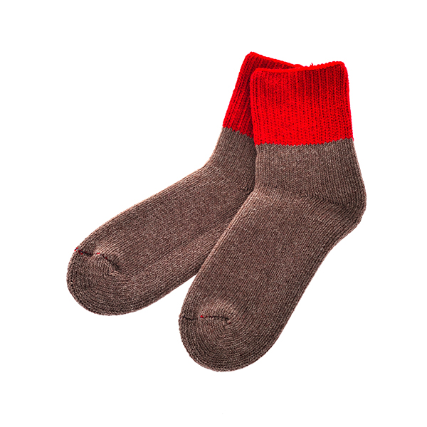 ROTOTO / TEASEL SOCKS Outlast RED/MOCHA S(23-25)