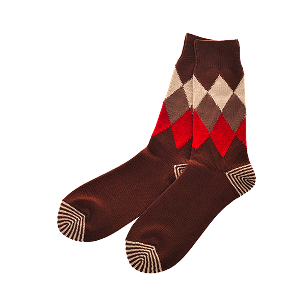 ROTOTO / ARGYLE SOCKS BROWN M(25-27)
