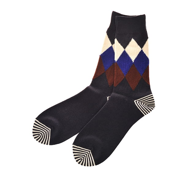 ROTOTO / ARGYLE SOCKS CHARCOAL M(25-27)