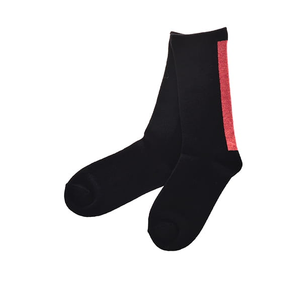 ROTOTO / WOOLEN MOCCHILY SOCKS ONE STRIPE BLACK/CORAL M(25-27)