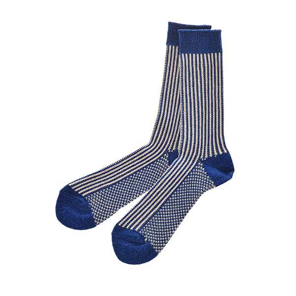 ROTOTO / STRIPED LIKE DENIM SOCKS DENIM/IVORY M(25-27)