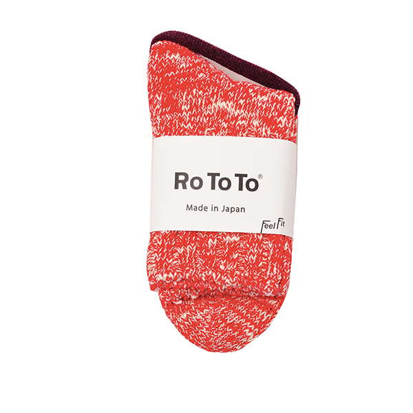 ROTOTO / LOW GAUGE SLUB SOCKS RED