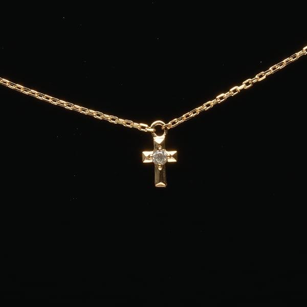 MANISTA / Lip(リップ)K10ダイヤモンドネックレス Tiny Motif クロス
